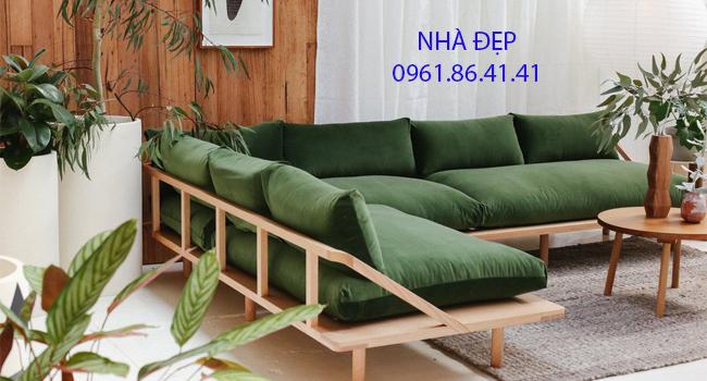 may nệm lót ghế gỗ góc chữ l