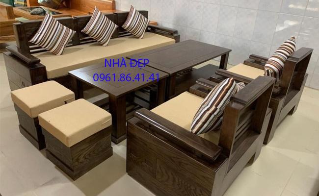 Nệm Lót ghế gỗ 1 băng dài và 2 ghế đơn