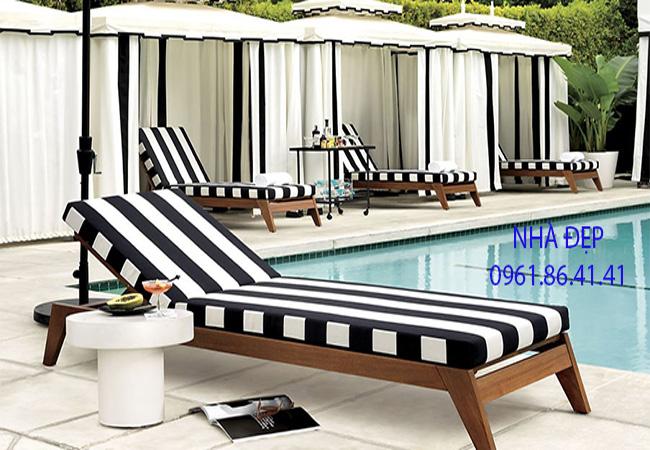 Nệm lót ghế gỗ hồ bơi bãi biển resort